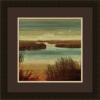 "Mantle Art Company - ""On the Water I"" custom framed art - Beautiful modern art custom framed by designers to bring out the best in this piece of art. Made in the USA"