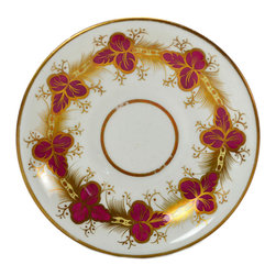 Lavish Shoestring - Consigned 6 Tea Saucers in Crimson and Gold, English Victorian, 19th Century - This is a vintage one-of-a-kind item.