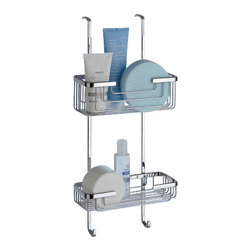 Gedy - Over-the-Door Double Shower Basket - Contemporary style suspensible square wire double tier shower basket.