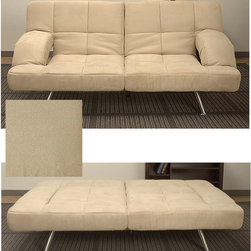 None - Chai Microsuede Sofa Bed - Enhance the overall appeal of your living space with this elegant Chai microsuede sofa bed that features easy-to-clean upholstery and a four-position click mechanism for convenience. This bed also has a versatile design that complements any home decor.