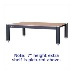 """VTI - BL404 Additional Shelf - 9"""" High - This is a 9"""" high add-on shelf for the VTI BL404. A 7"""" high extra shelf is also available (see related items). Features: -Accommodates up to 29"""" TV set and three audio / video components -Width between sides of poles: 20 1/4"""" -Single shelf weight load capacity: 200 Lbs. -No assembly required -Shelves are MDF (medium density fiberboard) with either a woodgrain finish, or powder finish in black -Cap and adjustable spike color: available in 24K Gold-polished Chrome, Black Chrome or Silver Chrome. Also Silver Grey Poles available with Silver Caps. See additional images below. -Shelf color: available in Black, Oak or Cherry. -Overall dimensions: 9"""" H x 23 1/2"""" W x 20 1/3"""" D About VTI Manufacturing, Inc. VTI Manufacturing, Inc. specializes in manufacturing entertainment and presentation furniture for home and office use. The residential home entertainment line includes TV stands, audio/video racks, and speaker stands for home theater use. All VTI racks are constructed with durable metal frames along with tempered glass or wood shelves. The metal/wood racks come in 10 different color combinations at the same low prices while the metal/glass racks also come in the most popular colors. VTI racks offer deeper and taller shelving space to accommodate most of the up-to-date electronic equipment. Both the stackable and fixed structure racks beautifully display your equipment and enhance the style of your homes décor."""