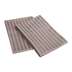 650 Thread Count Egyptian Cotton King Gray Stripe Pillowcase Set - Want the feel of a Luxury Hotel in your bedroom? This 100% Egyptian Cotton Pillowcase Set brings the unique feel of high-quality luxurious sheets to your bedroom. Feel like a Queen or King nestled in the most luxurious bed linens available.  Breathable and Durable, these 650 Thread Count Pillowcases are made to last forever. Flat Sheet and Pillowcases feature a tuxedo pleated hem to add an elegant look to any decor. Set includes two pillowcases 21x42.