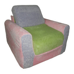 Fun Furnishings - Fun Furnishing Chair Sleeper Pink Lilac Green Chenille - The sofa and chair sleepers are the perfect place to sit to read, watch TV or play a game. When it is time to take a nap or find a place for a little friend to spend the night, flip open the chair or sofa, add a blanket and pillow and you are all set. Grandparents love having one at their home too! Built-in Durability We have worked hard to make our furniture durable and help it retain its appearance. We include a layer of fiber on the seating surfaces to keep the fabric tight much longer. Even so, furniture does wear with use. Here are some tips to help you keep it looking good while your kids enjoy it: 1. Jumping on the furniture is safe and a lot of fun, but it will make the piece look tired sooner. 2. Sitting or jumping on the arms of the furniture is not recommended.  3. As a result of acrobatic use the fabric may stretch. You can use a steamer or mister to lightly dampen the fabric with distilled water. As the fabric dries it will shrink slightly and look almost like new again. Cleaning the Cover:  We use only fine upholstery-grade fabrics that can take lots of use from kids. Our Micro Suedes, denims and chenilles are all washable.  But we cannot prevent the covers from getting dirty. Here's what you can do to keep them looking new:  1. Blot up spills immediately. Surface wash any remaining stains with a mild, non-toxic cleaner. Do not rub too hard or use a strong cleaner; you will remove the fabric's finish and possibly some color too. 2. The furniture covers are removable. We recommend dry cleaning to keep the covers looking their best as long as possible. 3. You may apply a scotch-guard type treatment to protect the covers. If you choose to do this always start with a small amount on the bottom of the piece to make certain the fabric will not be damaged. 4. The white bed surface is a poly/cotton blend and can be cleaned with stronger stain removers. Slipcover Removal Instructions 1. Unzip and remove the backrest cushion 2. Unzip and remove the seat cushion 3. Unzip the bottom panel and remove the cover from the frame 4. Reassemble in the following order: a. replace the cover on the frame b. adjust to obtain a snug fit at all the edges and corners c. zip the bottom panel closed d. insert the seat cushion, rounded edge first with the padding facing toward you and zip closed (assuming you stand in front of the sofa) e. insert the back cushion, rounded edge first with padding facing away from you and zip closed (assuming you stand in front of the sofa placing the cushion in downwards) Inserting the Backrest Cushion 1. Insert the backrest cushion with the padding facing up and the rounded   edges in first. 2. Make sure that the cushion is pushed completely to the back of the fabric pocket and make sure the corners of the foam fit into the corners of the fabric pocket. 3. Once the foam piece is aligned properly into the fabric pocket, zip the fabric pocket shut. Take Note: If the foam piece is not fitted into the fabric pocket properly, the seat cushion and the back rest will not lay flat when assembled in the seated position.