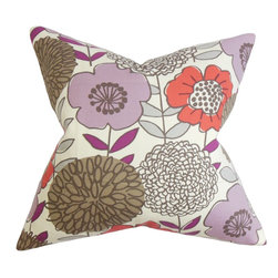 """The Pillow Collection - Veruca Floral Pillow Purple 18"""" x 18"""" - Infuse this cheery throw pillow into your living space. This accent pillow features a lovely floral pattern in shades of purple, red, gray, brown and white. The mix of pretty colors adds a pop of vibrant color to your bed, seat or couch. Ideal for indoor use, this 18"""" pillow is made with 100% high-quality cotton fabric. Hidden zipper closure for easy cover removal.  Knife edge finish on all four sides.  Reversible pillow with the same fabric on the back side.  Spot cleaning suggested."""