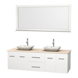 "Wyndham Collection - Centra 72"" White Double Vanity, Ivory Marble Top, White Carrera Marble Sinks - Simplicity and elegance combine in the perfect lines of the Centra vanity by the Wyndham Collection. If cutting-edge contemporary design is your style then the Centra vanity is for you - modern, chic and built to last a lifetime. Available with green glass, pure white man-made stone, ivory marble or white carrera marble counters, with stunning vessel or undermount sink(s) and matching mirror(s). Featuring soft close door hinges, drawer glides, and meticulously finished with brushed chrome hardware. The attention to detail on this beautiful vanity is second to none."