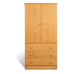 "Prepac - Oak Edenvale 3 Drawer Wardrobe - Say goodbye to your overcrowded closet with the Edenvale 3 Drawer Wardrobe. With three full-sized drawers, a two-door cabinet and a hanging rod, this wardrobe is your all-in-one storage solution. Its clean, minimalist style makes it an easy addition to any small bedroom. So don't clutter up your bedroom, keep it simple with this efficient and affordable wardrobe. Complete the look with other pieces in the Edenvale Bedroom Collection!; Detailed with matching plastic knobs; Removable drawers run smoothly on nylon glides with built-in safety stops; Finished in durable natural oak laminate; Includes a tipping restraint bracket; Sides, top, drawer fronts and kickers made from 5/8"" thick laminated composite board; Drawer components and backer are MDF; Ships Ready to Assemble, includes an instruction booklet for easy assembly and has a 5-year manufacturer's limited warranty on parts; Proudly manufactured in North America; Dimensions: Assembled dimensions: 30""W x 60""H x 20.5""D; Internal Dimensions: 27.5""W x 35.75""H x 20""D (wardrobe) 26""W x 4""H x 12.5""D (drawers)"
