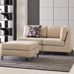 Armless Upholstered Ottoman - Straight-up and simple, this upholstered ottoman owes its polished good looks to its clean-lined tailoring and brushed nickel legs, while its thick padding and loose cushions make it a destination for pure comfort.