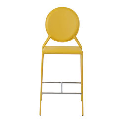 Isabella-C Counter Chair (Set Of 2)-Yellow - Leather seat, back and legs on steel frameChromed steel foot restMinor assembly (footrest)Also available as side and bar chair More colorsSeat height 26""