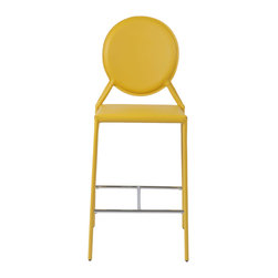Eurostyle - Isabella-C Counter Chair (Set Of 2)-Yellow - Regenerated leather seat, back and legs on steel frame