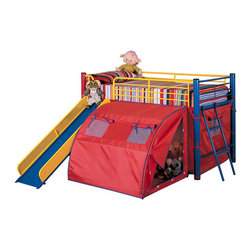 Adarn Inc. - Fun Play Lofted Twin Bunk Bed with Slide and Tent Metal Frame in Bold Multicolor - This fun loft bed will be a welcome addition to your child's bedroom. Create a cool fort for your little one with this lofted twin size bed. The simple tubular metal frame offers sturdy support, with safety side guard on all sides. An attached ladder makes it easy to climb to the top, while a slide offers a great way to get back down! A tent covers the opening below the bed, for a fun spot to play with toys, read a book, or play hide and seek. Available in a bold multicolor or black with camouflage, this cool tented bunk bed will quickly become a favorite in any child's home.