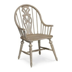 A.R.T. Furniture Belmar II Windsor Arm Chair - Antique Linen - Set of 2 - The A.R.T. Furniture Belmar II Windsor Arm Chair – Antique Linen – Set of 2 features a unique country-coastal style mix, including its signature pairing of wood spindles with a carved and pierced splat back design. Made from radiata hardwood solids and New Zealand Pine veneers with a hand-painted and distressed antique linen finish, these charming chairs are supported by four octagonal turned legs joined by a sturdy H-shaped stretcher.About A.R.T. FurnitureFounded in 2003, A.R.T. Furniture creates beautiful, high-quality furniture inspired by architecture and design. Their sophisticated aesthetic draws upon the best of traditional European furniture designs, as well as rustic, coastal, and transitional styles. A.R.T. Furniture is known for its themed collections that reinvent classic forms for the needs of contemporary home decorators. Their dining room, bedroom, entertainment, and living room furnishings are constructed from sustainably forested hardwoods and veneers. A.R.T. Furniture is distinguished by its superior craftsmanship and attention to detail, taking the extra step in the manufacturing process to ensure quality, beauty, and durability for its customers.