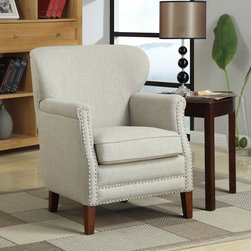 None - Erika Brown/ Beige Linen Accent Chair - Add contemporary style to your living area with the charming Erika accent chair. Crafted with a solid wood frame, this durable brown chair is covered with trendy beige linen fabric and features nail head accents.