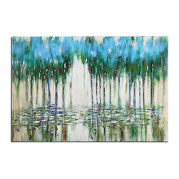 Uttermost - Uttermost Trees in The Mist Abstract Wall Art X-10353 - Frameless, hand painted artwork on canvas that has been stretched and attached to wooden stretching bars. Due to the handcrafted nature of this artwork, each piece may have subtle differences. This is a high gloss piece.