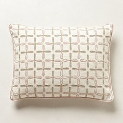 "Kevin O'Brien - Cross-Stitch Pillow - By Kevin O'BrienSide zipLinen; feather fillDry clean22"" squareImported"