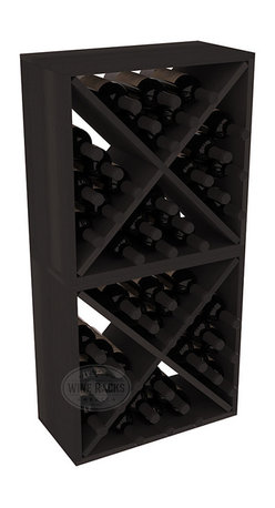 """Wine Racks America - 48 Bottle Wine Cube Collection in Premium Redwood, Black Stain - Two versatile 24 bottle wine cubes. Perfect for nooks, crannies, and converting that """"underneath"""" space into wine storage. Mix and match finishes for a modern wine rack twist. Popular for its quick and easy assembly, this wine rack kit is a perfect storage solution for beginners and experts."""