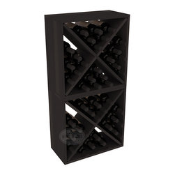 "Wine Racks America - 48 Bottle Wine Cube Collection in Premium Redwood, Black Stain - Two versatile 24 bottle wine cubes. Perfect for nooks, crannies, and converting that ""underneath"" space into wine storage. Mix and match finishes for a modern wine rack twist. Popular for its quick and easy assembly, this wine rack kit is a perfect storage solution for beginners and experts."