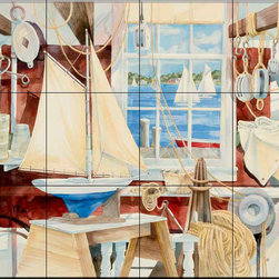 The Tile Mural Store (USA) - Tile Mural - Sailor'S Shop - Kitchen Backsplash Ideas - This beautiful artwork by Paul Brent has been digitally reproduced for tiles and depicts the inside of the Sailor's shop.  Tile murals with ships and decorative ship tiles are timeless and are excellent to add to your kitchen backsplash tile project or your tub and shower surround bathroom tile project. Images of ships on tiles and pictures of sailboats on tiles add a unique element to your tiling project and are a great kitchen backsplash idea for a coastal home. Use a decorative tile mural of ships and boats for a wall tile project in any room in your home where you want to add interest to a plain field of wall tile. Bathrooms always look best with the addition of decorative wall tiles so why not add a tile mural with the image of a ship?