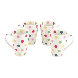 Cardew Design - Polka Dot Bone China Mug - Set of Four - Perfect for tea lovers of all ages, this charming set serves up Earl Grey with a dash of whimsy. Featuring very fine bone china construction, they remain super sturdy and easy to clean. �� Includes four mugs Holds 15 oz. Porcelain Hand wash Imported