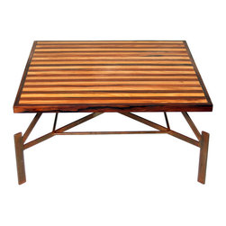 Unique Vintage Bolivian Rosewood Industrial Coffee Table - This coffee / cocktail table features both reclaimed Bolivian rosewood and canary wood on a base of patinated steel. Designed and built by craftsman Denis Ferentinos, the graphic top is made to look as if it floats above the cantilevered base.