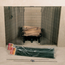 UniFlame - 48in. X 22in. Fireplace Spark Screen Rod Kit Not Included - Series:  Curtain Screens