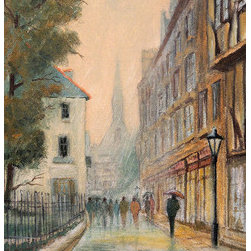 """""""Rainy Day In Oxford"""" (Original) By Bill Holkham - Another Rainy Day In The Beautiful City Of Oxford England. As The Evening Draws In The Lights Shine From The Shops And Reflect Upon The Cobbled Street. You Can Almost Hear Someone Saying 'When Will It Ever Stop Raining?' Original Oil On Canvas Board Using Winsor And Newton Artist Quality Oil Paints."""