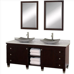 "Wyndham Collection - Wyndham Premiere Vanity 72"" Espresso - A bridge between traditional and modern design, and part of the Wyndham Collection Designer Series by Christopher Grubb, the Premiere Single Vanity is at home in almost every bathroom decor, blending the simple lines of modern design like vessel sinks and brushed chrome hardware with transitional elements like shaker doors, resulting in a timeless piece of bathroom furniture."