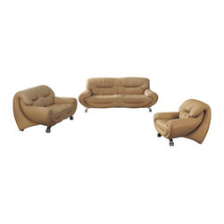 ESF - ESF 738 Beige Top Grain Italian Leather 3 Piece Sofa Set With Pull Out Bed - The ESF 738 sofa set is a great addition for any living room that needs a touch of modern design. This sofa set comes upholstered in a beautiful beige top grain Italian leather. High density foam is placed within the cushions for added comfort. The backs on each piece extend down all the way to the ground acting as leg supports which adds to the overall look of the sofa set. Built into the sofa is a pull out bed perfect for any friends or family spending the night. Only solid wood products were used when crafting the frame making the sofa a very durable piece.