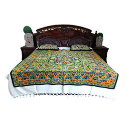 Mogul Interior - Indian Inspired Bedcover, Paisley Printed Cotton - Handloom Cotton