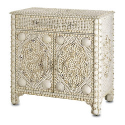 Marchmont Sideboard - A glamorous signature piece like the Marchmont Sideboard would have been the showpiece of a Victorian drawing room - and it retains its graceful, whimsical impact today. Practical in construction, fantastical in adornment (especially with the unique dimensional rose garlands), this intricate confection in white shells can't fail to impress the viewer.