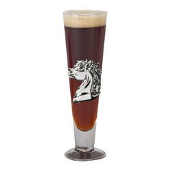 Arthur Court - Horse Pilsner - Enjoy a cold beer in this stately pilsner glass, with the visage of a regal horse printed on it. You'll feel like royalty in your own home when you use this glass, which you can make frosty in the  refrigerator or freezer before pouring your refreshing drink.