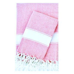 Turkish-T - Super Soft Bath Towel with Fringe,  Pink/White - This Turkish bath towel is made from 100 percent long cotton staple fibers, so it's supple to the touch and becomes even softer with repeated use. The durable, flat-woven design maintains its shape, and is available in a selection of soft, breezy colors — each finished with fringe to add Mediterranean allure to the bath, pool or spa.