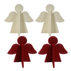 The Felt Store - Decorative Felt Angels (2 White & 2 Red) - 4 Pack - The Felt Store's Decorative Angel is the perfect home decoration. Whether you use it to bring in some much needed holiday cheer to any room, or to add to your child's holiday craft projects, the Decorative Angel is the perfect accompanying piece to all of your home decor ideas. Available in both single units as well as a 4 pack in red and white. This pack includes 2 white and 2 red angels.