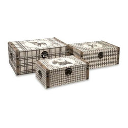 Pet Theme Storage Boxes - Set of 3 - Plaid, harlequin and hounds tooth pattern as style and are a nice contrast to the dog silhouettes portrayed on this set of three storage boxes.