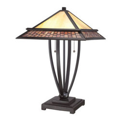 Quoizel Lighting - Quoizel TFMN6324VB Mason 2 Light Table Lamp, Vintage Bronze - Fans of Craftsman-styling will love the Mason Collection. Enhancing its classic design is the neutral-toned art glass that is hand-assembled using the copper foil method developed by Louis Comfort Tiffany plus a Vintage Bronze finish. Available in a piccolo pendant, semi-flush mount, pendant, table lamp and floor lamp.