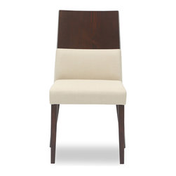 Bryght - 2 x Vivian Khaki Fabric Upholstered Dining Chair - The Vivian dining chair, with its unmatched innovative design is sure to lend a modern air to your dining room decor. This well crafted piece offers you the combined luxury of a cushioned as well as a thick and sturdy wooden back, gently curved in to envelope you every time you sit. The Vivian dining chair is ideal for everyday use and longer sittings alike.