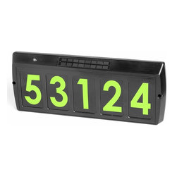 None - Gama Sonic GS-80 Solar Illuminated Address Sign with 5 Green LEDs - Solar illuminated address sign for 5-digit addresses has green LEDs that stay lit from dusk to dawn with a full solar charge of the included rechargeable AA batteries by the integrated solar panel.