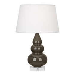 "Robert Abbey - Contemporary Robert Abbey Brown Tea Triple Gourd Ceramic Table Lamp - This alluring tapered triple-gourd ceramic table lamp will brighten your decor with its elegant contemporary style. Finished in a warm brown tea glaze with a square clear Lucite stand below that plays off the soft pearl dupioni fabric shade on top. A beautiful Robert Abbey lamp that will enhance your home for years to come. Triple-gourd contemporary table lamp. Warm brown tea finish. Square Lucite base. Ceramic construction. Hardback pearl dupioni fabric shade. Polished nickel finish metal accents. Made in U.S.A. Takes one maximum 150 watt or equivalent 3-way bulb (not included). 24"" high. Shade is 12 3/4"" across the top 16"" across the bottom and 10"" high. Base is 5 1/2"" square and 1"" high.       Triple-gourd contemporary table lamp.  Warm brown tea finish.  Square Lucite base.  Ceramic construction.  Hardback pearl dupioni fabric shade.  Polished nickel finish metal accents.  Made in U.S.A.  Takes one maximum 150 watt or equivalent 3-way bulb (not included).  24"" high.  Shade is 12 3/4"" across the top 16"" across the bottom and 10"" high.  Base is 5 1/2"" square and 1"" high."