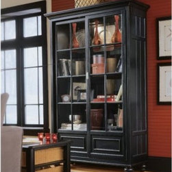 "American Drew 919-588 Bookcase/China- RTA Feet Camden - Black - Bookcase/China- RTA Feet - American Drew Camden - Black Collection 919-588The multi-shelved long and wide Bookcase by American Drew is praiseworthy classic choice. Being commendably versatile in its usage it becomes an ideal store for your precious books. The black finish blesses it with a bold tint. Delicately designed this is an alluring product. The quality of timber is amazingly non-perishable and long lasting. All what it needs is some regular care. Elaborate in its type it gets established wherever placed. Having a striking appeal American Drew 919-588 is a laudable piece by the elite American Drew.Features:2 Sliding Doors2 Tray Drawers3 Adjustable Glass Shelves2 Can Lights2 DrawersThis Price Includes:Bookcase/China- RTA FeetItem:Weight:Dimensions:Bookcase/China- RTA Feet305 lbs52"" W X 19"" D X 80"" HManufacturer's Materials:Hardwood SolidsMaple Ash Veneers & Select Hardwoods"