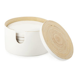 Arctic Bamboo Coasters - Set of 7 - With fall television and game days coming up, you'll need to protect table surfaces in style. Rest assured that your glasses and beverages will be sitting pretty on these bamboo coasters. Perfect for entertaining in both casual and elegant settings, the coasters come in an arctic white case for easy storage.