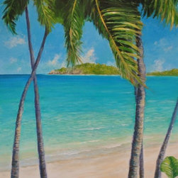 "Original Tropical Seascape Painting - Barbados - Barbados Beauties is an original 24"" x36"" acrylic on gallery wrap canvas Caribbean seascape painting of majestic, slender, tall palm trees on the beach in Barbados."