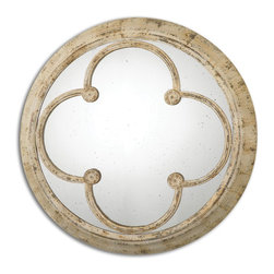 Uttermost - Livianus Round Metal Mirror - Frame is hand forged metal finished in heavily distressed, rust ivory. Mirror is antiqued.