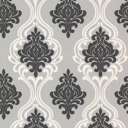 Brewster Home Fashions - Indiana Black Damask Wallpaper Bolt - Highly glamorous, this stylish damask wall paper blends traditional design with modern flair. A fresh black, grey and champagne palette coupled with lustrous swirling effects and a plush suede finish, makes for a wonderfully rich decor accent.