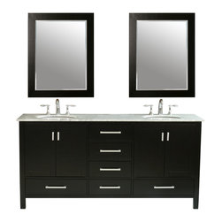 "72"" Malibu Double Sink Vanity With Carrara White Marble Top - An ideal complement to a contemporary decor, the 72"" Malibu Double Sink Vanity embodies the clean lines and sophistication of modern design. The espresso-finish cabinet, made of solid oak, lends a rich warmth to your bathroom and contrasts beautifully with the Carrara White Marble top. Sleek and simple satin nickel hardware adorns the European soft-closing sliders and doors, which give you ample space to store your bathroom items."