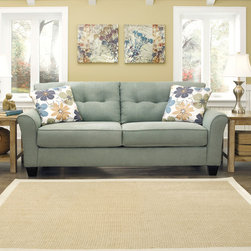 Signature Design by Ashley - Signature Design by Ashley Kylee Lagoon Contemporary Sofa and Accent Pillows - Gently curving arms and button-tufted back cushions give this fashionable sofa a contemporary look. Upholstered in stylish lagoon-green with complementing floral-print throw pillows, this fabulous Kylee sofa will enliven any modern setting.