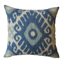 KH Window Fashions, Inc. - Shades of Blue and Ivory Ikat Decorative Pillow, Without Insert - Shades of Blue and Ivory Ikat Pillow.  Perfect to toss on your bed or sofa.