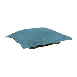 Howard Elliott Mojo Turquoise Puff Ottoman Cushion - Extra Puff cushions in Mojo are a great way to get a fresh new look without the expense of buying a whole new ottoman! Puff cushions fit Scroll ottoman frames. This Mojo cushion features a suede-like texture in a vibrant blue color.