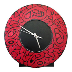 Irvin Studio and Design - Lava Clock, Cherry - The Lava Clock is a freestanding clock perfect for mantles, end tables consoles and more.  Constructed of solid black lacquered maple with a lively array of dyed koto wood elements on the front face.  Available in a variety of colors.