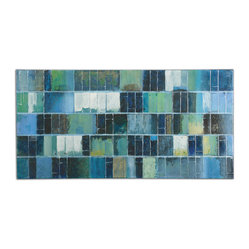 Uttermost - Glass Tiles Modern Art - A cool and sophisticated palette of blues and greens will make a calming statement in your home. Billy Moon has painted a majestical canvas that mimics the look of modern glass tiles. Hang this in your living room or bedroom for a daily dose of serenity.