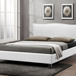 Baxton Studio - Baxton Studio Battersby White Modern Bed with Upholstered Headboard - Queen Size - Turning in for the night is a delight with the Battersby Designer Bed. The simple, minimalist contemporary bed design is made in Malaysia soft, buttery matte white faux leather, foam padding, and an engineered wood frame. Dark brown rubber wood legs plus silver upholstery tack detailing on the perimeter of the headboard add charm. As a queen sized platform bed, the Battersby does not require a box spring: only a mattress is needed, which can't atop the wooden slats (included). Maintenance is simple: just wipe the bed�۪s surfaces with a damp cloth before wiping dry. The Battersby Bed is also available in black as well as both black and white in full size (each sold separately). Assembly is required. 62.60 inches wide x 88 inches deep x 37 inches high