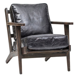 Brooks Lounge Chair, Ebony - With a design that reflects a salvaged architectual design from the 1940's the Brooks Lounge Chair is the perfect addition to any living space.